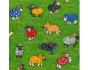 Rainbow Sheep - Bright Cartoon Sheep on a Green Background